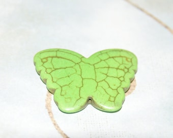 Large Butterfly green tinted 30x38mm