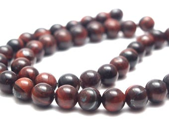 5 round beads and smooth 8mm red/brown Bull's eye