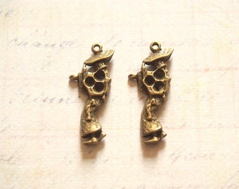 2 Asian woman 29x12mm bronze metal charms