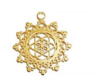 Chakra - Golden 34x30mm metal flower pendant