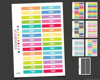 Today  - Header Planner Stickers -  Repositionable Vinyl - To Suit Erin Condren Life Planner Vertical  -