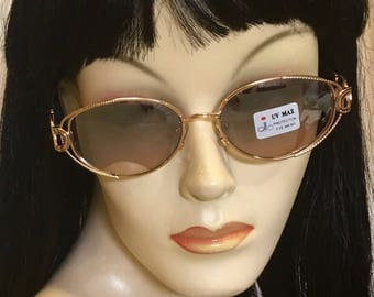 Vintage 1990s sunglasses, gold filigree frame, grey fade to peach tint lens, free shipping!