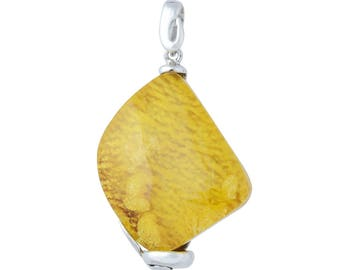 Sterling Silver and Baltic Hand Made Yellow Amber Pendant