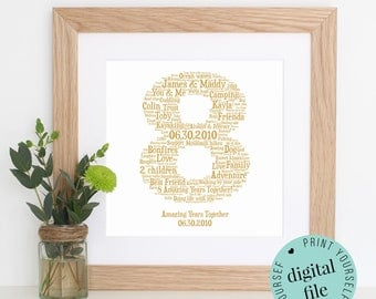 Personalised 8TH ANNIVERSARY GIFT - Word Art - Printable Gift - Gift for Husband - Wife GIft - 8th Wedding Anniversary - Bronze Anniversary