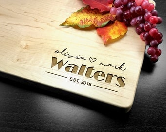 Engraved Cutting Board Gift, Custom Wedding Gift, Personalized Anniversary Gift, Housewarming Gift, Wood Chopping Block, Valentines Day Gift