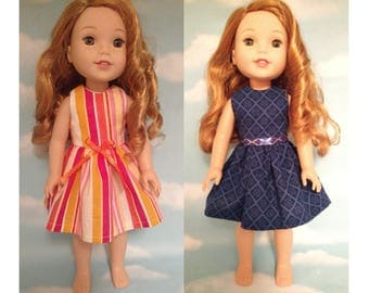Dress Fits AG Wellie Wishers, Girl Doll clothes, American Made handmade 14.5 doll Clothing (choose an option) d-208wab