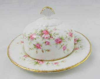 "Paragon ""Victoriana Rose"" Butter Dish, Covered Butter Dish, Serving Dish, Pink Roses"