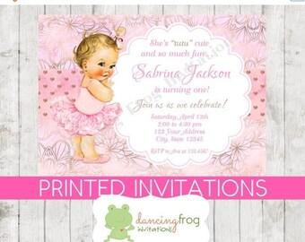 SALE Vintage Baby Girl Tutu Birthday Invitations - You choose hair/skin color - Girl Tutu Birthday Invitation - .99 each with envelope
