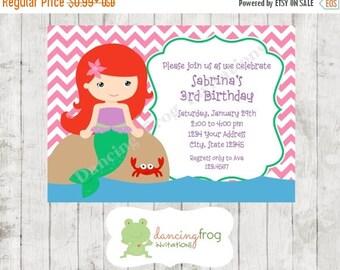 SALE Mermaid Princess Birthday Invitations - Printed Princess Invitations by Dancing Frog Invitations