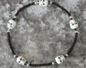 Gothic Black Skull Seed Bead Stretch Anklet