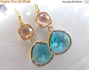 SALE Wedding Jewelry, Aquamarine and Peach Earrings,Gold, Aqua and Blush,Aqua and Peach, Bridesmaid Gift, Bridesmaid Jewelry, Dangle, Drop,
