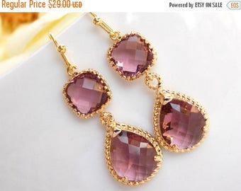 SALE Wedding Jewelry, Plum Earrings, Eggplant, Gold, Burgundy, Purple, Bridesmaid Jewelry, Wedding Gifts, Dangle, Wedding Earrings,Brides