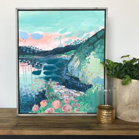 Modern Mixed Amalfi Coast Painting