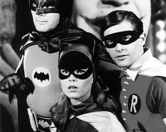 Adam West with Burt Ward and Yvonne Craig ,Robin and Batgirl   , PHOTOGRAPH ..... star of the Batman Tv Show the Batman Television Series