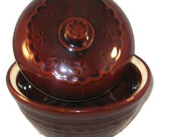 Marcrest Stoneware Bean Pot, Vintage Bean Pot, Brown Glaze Pot, Lidded Pot, Serving Dish, Vintage Stoneware Pot With Warmer Stand, Stoneware