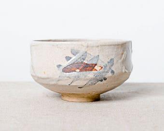 Handmade kiln fired Japanese ceramic stoneware chawan tea bowl