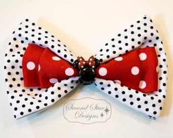 Mouse Ears/Hair Bow // Minnie Inspired // Interchangeable Bow for Mouse Ears Headband or Hair