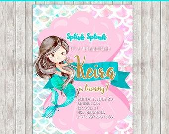 50%Off Mermaid Party Invitation, Mermaid Invitation, Mermaid, Beach Party Invite, Mermaid Wishes, Splish Splash, Pool party, Under Sea, Wate