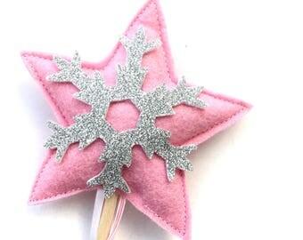 Winter wonderland snowflake wand - Pink and Silver - Winter Star with snowflake wand - Pink Winter Wonderland Wand