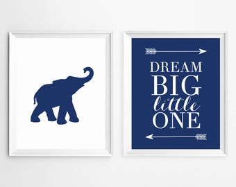 Dream big little one elephant Wall Art Prints Sign, Printable Nursery Art, Nursery Wall Art Arrow, Nursery Prints, Bedroom set for kids
