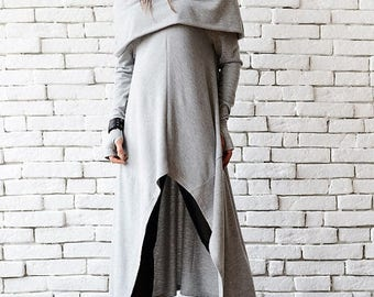 ON SALE Grey Long Tunic/Extravagant Tunic Dress/Asymmetric Grey Top/Oversize Loose Tunic/Gentle Casual Dress/Fallen Sleeve Long Top/Grey Dre