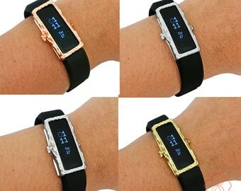 Fitbit Alta/Alta HR Accessory, Jewelry - Protective FRAME COVER in Gold, Rose Gold, Matte Silver or Silver to Dress Up Your Activity Tracker