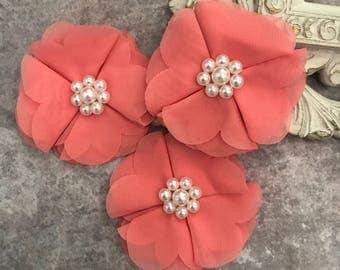 Coral flower, chiffon flower, pearl flower, fabric flower, headband flower, supply flower, ballerina flower