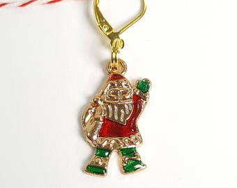 Jeweled Gold Santa Progress Keeper Marker Stitch Marker - 6mm lever back PK0014
