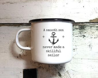 ENAMEL SAILOR MUG Marine Mug Sea Gift Yacht Cup Boat Mug Engraved Personalized Mug Mariner Seaman Gift Inspirational Mug