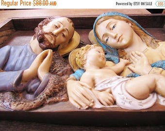 Vintage Religious Wall Decor, Large Italian Religious Wall Plaque, Jesus Mary Joseph Wall Sculpture, Religious Home Decor Made in Italy