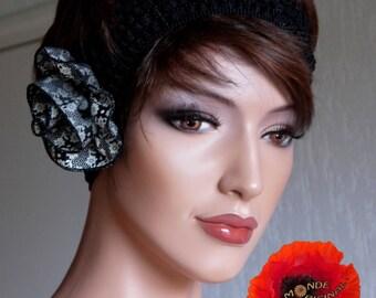 Pink fabric liberty Millie black elastic headband