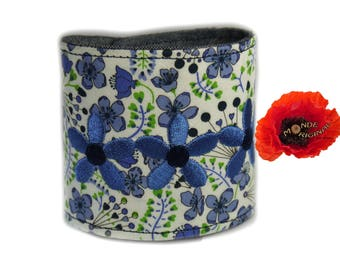 Blue Cuff Bracelet in denim and fabric Liberty Sarah's Secret Garden
