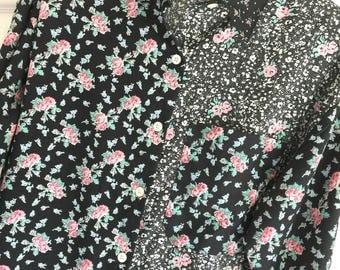 Perfect L Cotton Rayon Black Pink Green Floral MiniPrint Long Sleeve Button Shirt Blouse