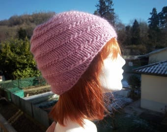 Hat in wool, alpaca and mohair (Pink).
