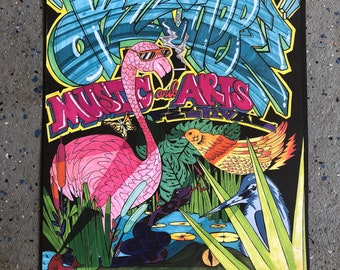 """2018 Okeechobee """"party animals"""" poster done by Tampas own Ske3mer"""