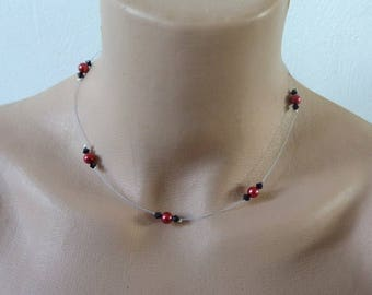 Necklace beads black and Red wire hypoallergenic available on wedding