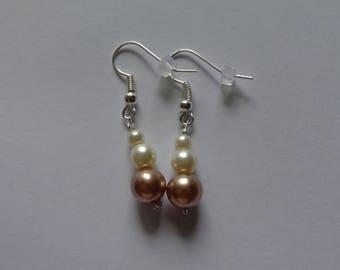 earring beads Brown ivory wedding