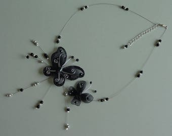 Necklace Black Silver Butterfly wire hypoallergenic available on wedding