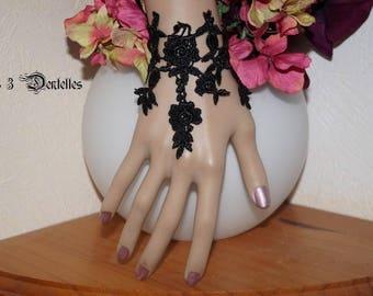 Black wedding lace bracelet * 3 lace *.
