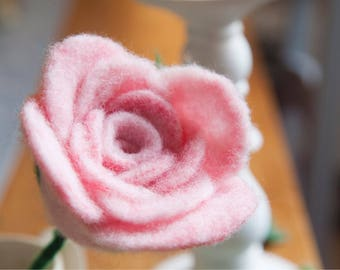 Needle Felt 'Blush' Pink Rose.