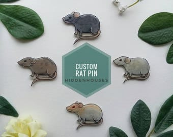 Custom Pet Rat Portrait Pin/Brooch/Badge