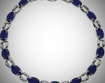 14K White Gold 10 Carat Lab Created Blue Sapphire Gemstone Line Tennis Bracelet 7 inches, September Birthstone