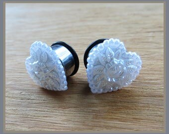 "Pearly Perennial Heart Wedding EAR TUNNEL PLUGS on stainless steel earrings pick gauge size  2g, 0g, 00g, 1/2"" aka 6mm, 8mm, 10mm, 12mm"