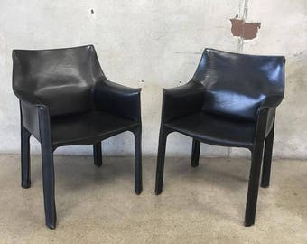 Pair of Vintage Cassina H-1 Black Leather Arm Chairs (FP9YYY)