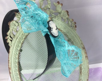 romantic headband turquoise and cameo lace black and white