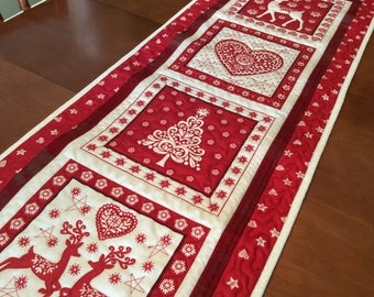 Nordic quilted Christmas table runner, red and cream Scandivanian design wall hanging, reindeer and Xmas trees,  red coffee table topper,