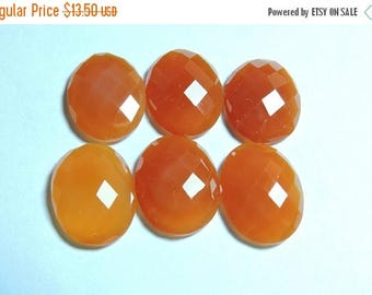 Summer Sale 2 Pcs Matched Pair Genuine Orange Chalcedony Faceted Oval Shaped Loose Gemstone Size 20X15 MM