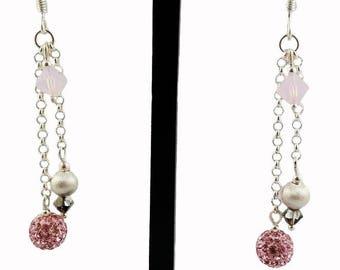 Silver 925 earrings, Swarovski crystal and pink strass, Pink crystal earrings, Silver 925 pending earrings