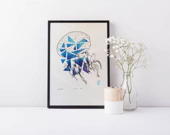 Float - A4 Geometric Jellyfish Limited Edition Print