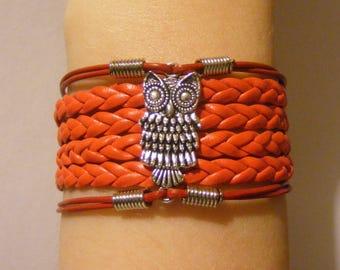 Owl bracelet, owl jewelry, owl charm bracelet, leather owl bracelet, leather owl jewelry, fashion bracelet, fashion jewelry